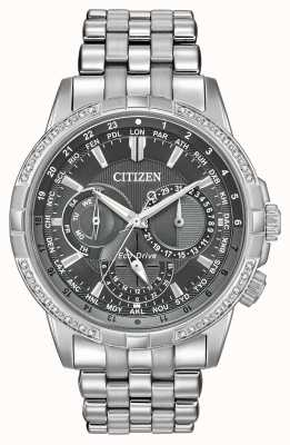 Citizen Eco-drive calendrier acero inoxidable 32 diamantes esfera gris BU2080-51H