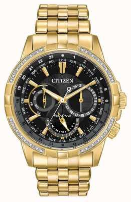 Citizen Mens calendrier eco-drive chapado en oro 32 diamantes BU2082-56E