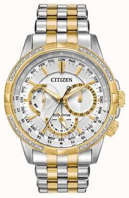 Citizen Reloj calendrier eco-drive de dos tonos con esfera de plata de 32 diamantes BU2084-51A