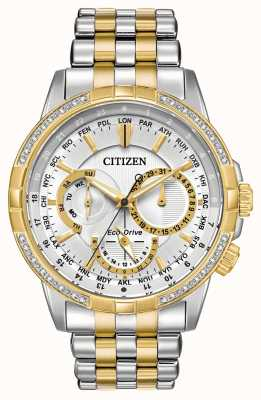 Citizen Mens calendrier eco-drive dos tonos 32 diamantes esfera plateada BU2084-51A