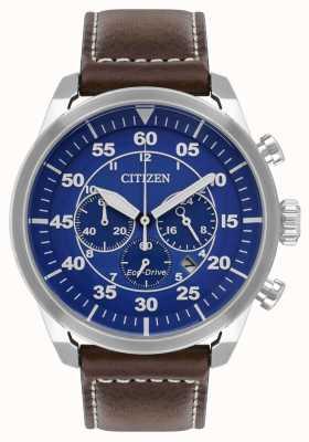 Citizen Hombres avion eco-drive esfera azul correa de cuero marrón wr100 CA4210-41L