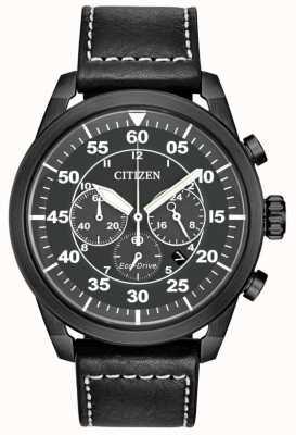 Citizen Cronografo negro de cuero negro para hombre avion eco-drive CA4215-21H