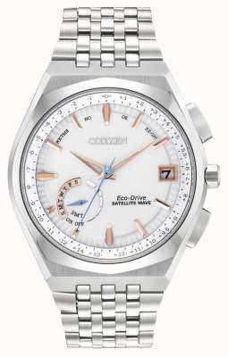 Citizen Reloj para hombre wave satellit eco-drive de acero inoxidable con acento ip dorado CC3020-57A