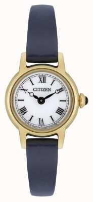 Citizen Correa de cuero azul para mujer con correa de piel blanca chapada en oro EG2995-01A