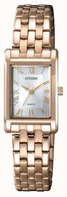 Citizen Esfera para mujer chapada en oro con caja rectangular plateada esfera. EJ6123-56A