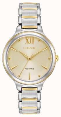 Citizen Esfera de champán de dos tonos e031 eco-drive para mujer EM0554-82X