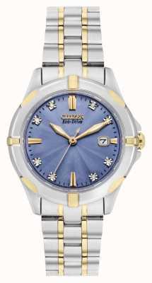 Citizen Esfera eco-drive de dos tonos sport azul diamante para mujer EW1936-53L
