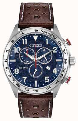 Citizen Reloj ecológico para hombre esfera azul marrón cuero crono 100m AT2418-00L