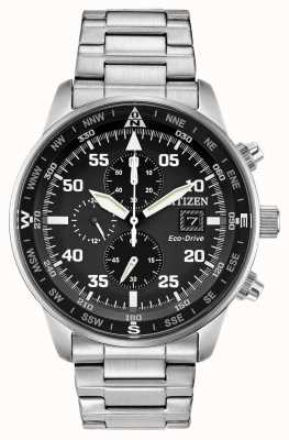 Citizen Mens aviator eco-drive esfera negra acero inoxidable chrono 100m CA0690-53E