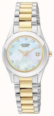 Citizen Conjunto de reloj y pulsera de nácar de cuarzo para mujer EU2664-59D-SETR