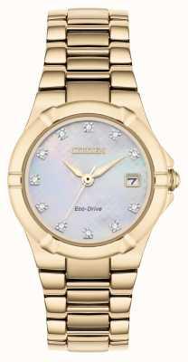 Citizen Diamante de diamante para mujer con forma de diamante chapado en oro rosa EW1533-50D