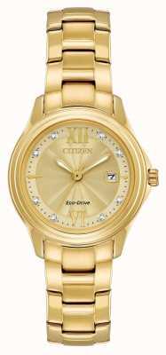 Citizen Conjunto de cristal de eco-drive chapado en oro para mujer FE1132-84P