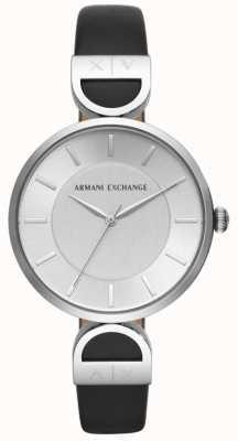 Armani Exchange Brooke womens correa de cuero negro esfera plateada AX5323