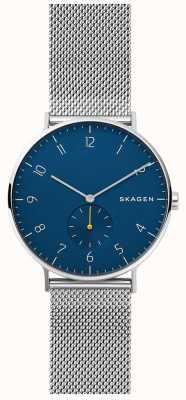 Skagen Aaren mens acero inoxidable malla azul SKW6468