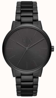 Armani Exchange Cayde mens negro pvd plateado pulsera AX2701