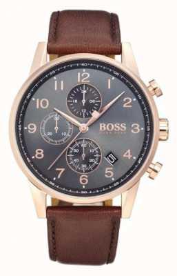Boss Navegador cronógrafo indicador de fecha esfera negra cuero marrón 1513496