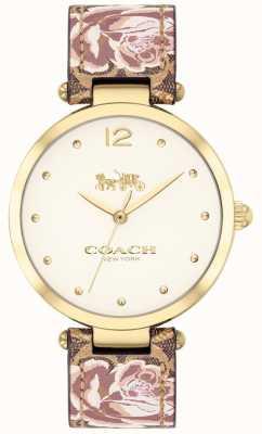 Coach Womens park watch correa de cuero floral dorado 14503178