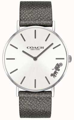 Coach Reloj de correa de cuero gris perry para mujer 14503155