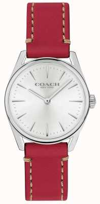 Coach Reloj de pulsera de cuero rojo de lujo moderno para mujer 14503205