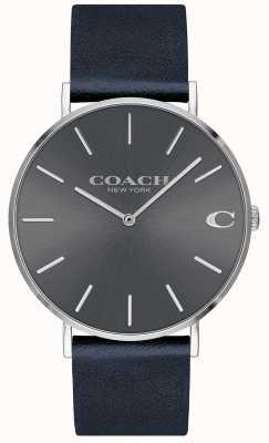 Coach Mens charles navy strap gris marcar reloj 14602150