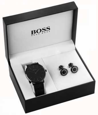 Hugo Boss Juego de reloj y manguito chapado en iones negro para hombre 1570067