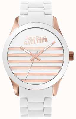 Jean Paul Gaultier Reloj de goma unisex blanco y rosa oro Enfants terribles JP8501126