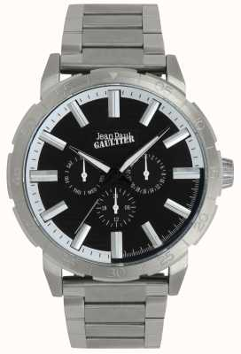 Jean Paul Gaultier Reloj de pulsera de acero inoxidable bombardero reloj negro JP8505404