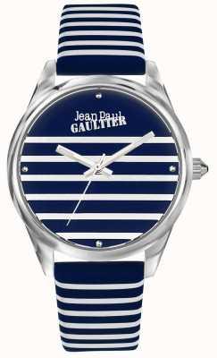 Jean Paul Gaultier Correa de cuero azul marino para mujer con reloj de rayas JP8502414