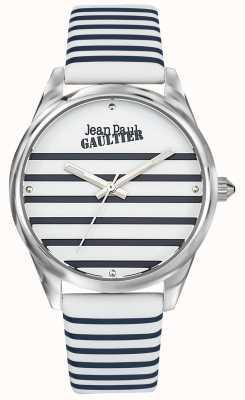 Jean Paul Gaultier Correa de cuero azul marino para mujer con reloj de rayas JP8502416