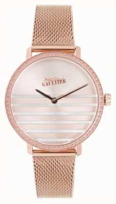 Jean Paul Gaultier Glam navy womens rose gold tone pulsera de malla reloj JP8505601