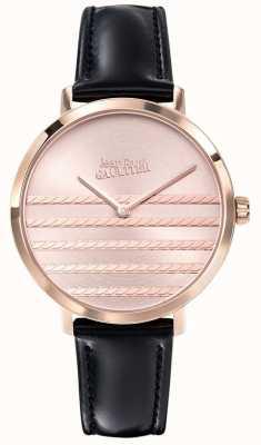 Jean Paul Gaultier Reloj de correa de cuero negro Glam navy para mujer JP8505605