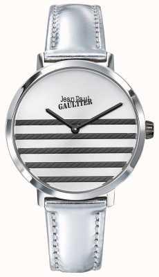 Jean Paul Gaultier Reloj Glam navy para mujer en piel plateada JP8505607