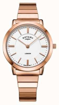 Rotary Reloj de pulsera de mujer en acero de oro rosa de Londres. LB00767/02