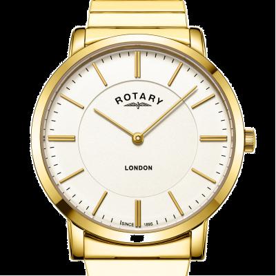 Rotary Reloj de pulsera expansible de acero inoxidable dorado para hombre de londres GB02766/03