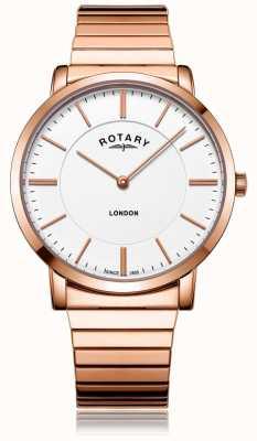 Rotary Reloj londres de oro rosa con brazalete expansible. GB02767/02
