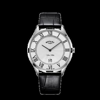Rotary Reloj de hombre con correa de piel negra ultra delgada con caja de acero GS08400/29