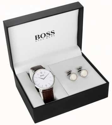 Hugo Boss Set de regalo para hombre con esfera blanca de cuero marrón para hombre 1570069