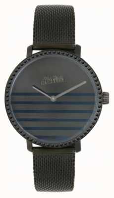 Jean Paul Gaultier (sin caja) reloj de pulsera para mujer glam navy gunmental mesh 8505602