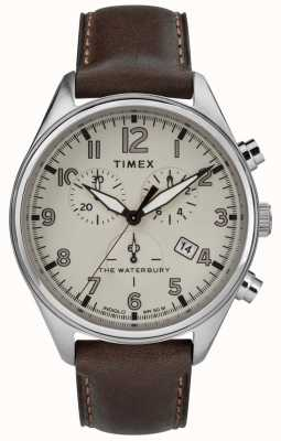 Timex Para hombre el cuero tradicional waterbury chrono marrón TW2R88200