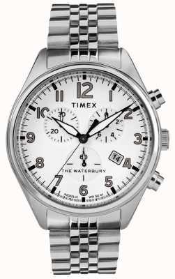 Timex Brazalete de acero chrono blanco tradicional Waterbury para hombre TW2R88500