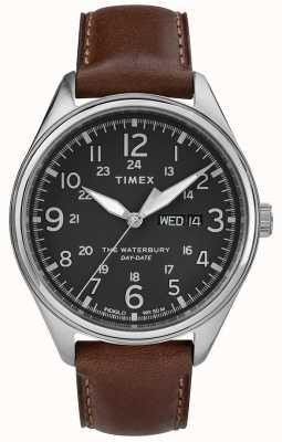 Timex Hombres waterbury tradicional día fecha negro marrón TW2R89000