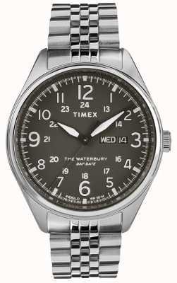 Timex Mens waterbury fecha tradicional día de acero negro TW2R89300