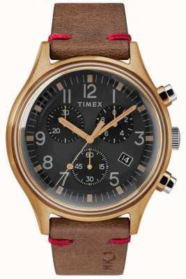 Timex Mens mk1 sst chrono 42mm caja de bronce esfera negra correa marrón TW2R96300