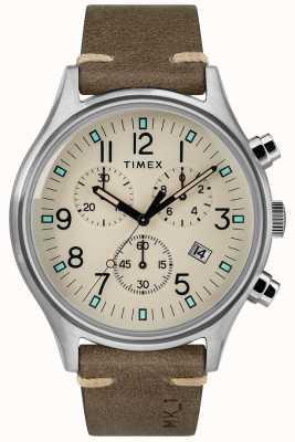 Timex Correa de cuero marrón para hombre mk1 sst chrono 42mm TW2R96400