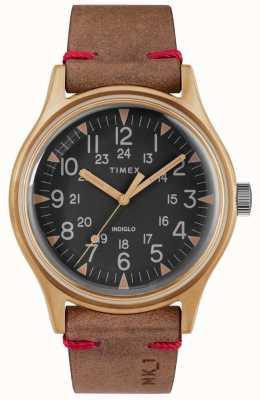 Timex Mens mk1 sst chrono 40mm caja de bronce esfera negra correa marrón TW2R96700