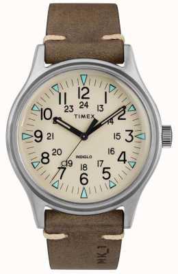 Timex Correa de cuero marrón para hombre mk1 sst chrono 40mm TW2R96800