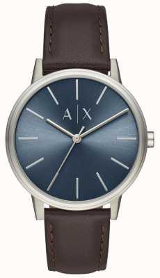 Armani Exchange Reloj para hombre correa de cuero marrón esfera azul AX2704