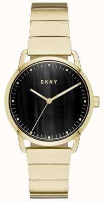 DKNY Reloj de pulsera negro con esfera dorada para mujer. NY2756