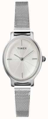 Timex Reloj de malla oval de plata para mujer milano TW2R94200D7PF