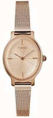 Timex Reloj milano oval de oro rosa para mujer TW2R94300D7PF